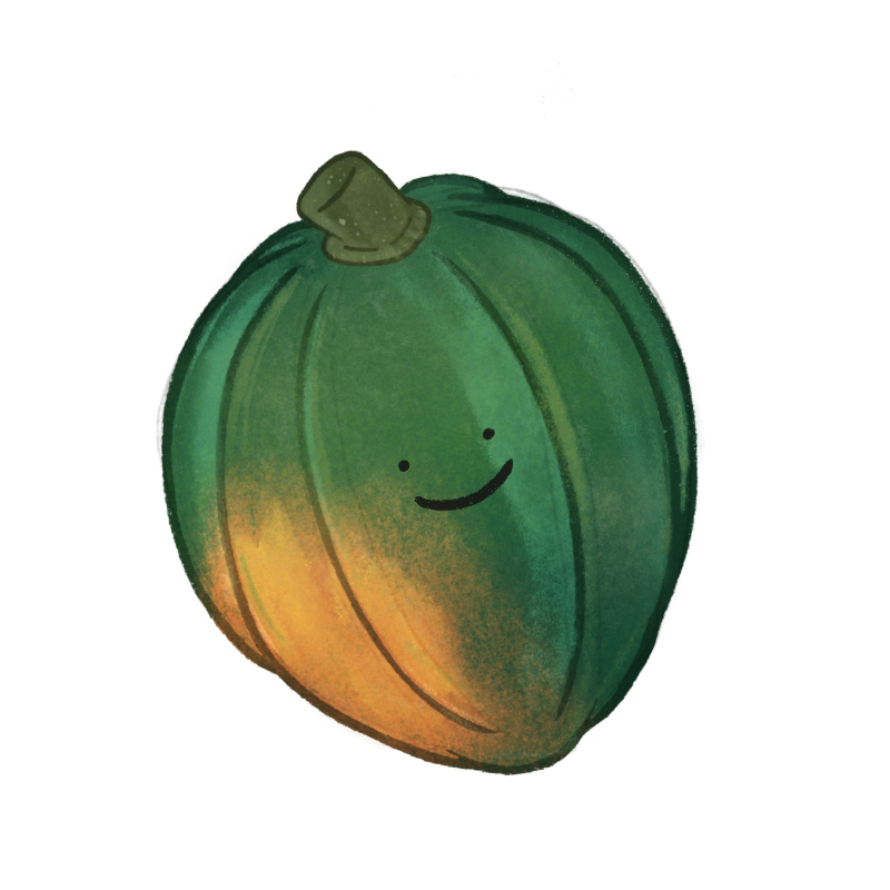 An illustrated acorn squash with a simple smiley face