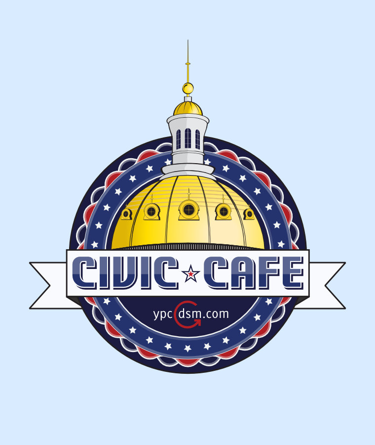 Event graphic featuring Des Moines' golden capitol dome