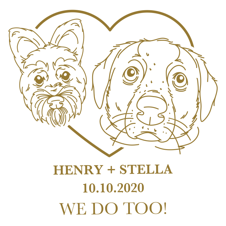 Pet portraits of two dogs that were printed on wedding reception napkins