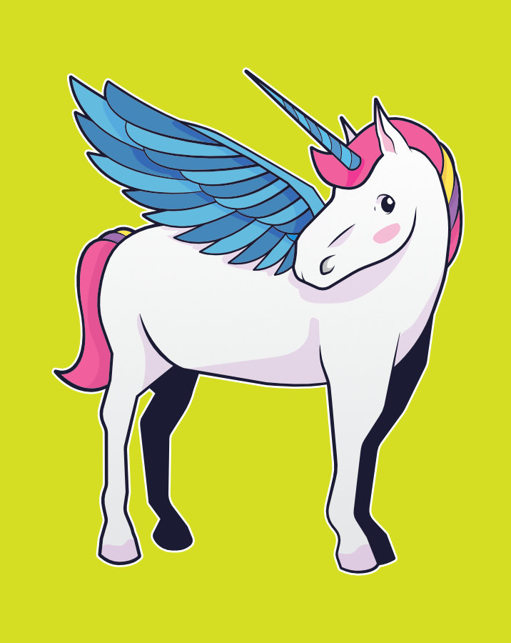Cute unicorn character with pegasus wings